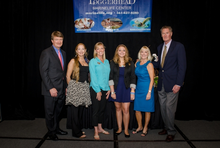 (L to R) Pete Wells (Go Blue Co-chair) Barbara Brunnick, Taras Oceanographic Foundation, 2012 Blue Friend of the Year, Amy Lesh, Jupiter Dive Center, 2012 Blue Business of the Year, Sara Brenes, Shark Whisperer, 2012 Blue Ambassador of the Year, Lynne Wells, Go Blue Co-chair, Hardy  Jones, Bluevoice.org, 2012 Eleanor Fletcher Lifetime Achievement Award. Photo Credit: Bill Barbosa